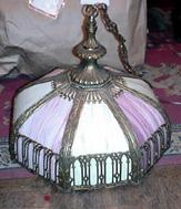 Circa 1900 Bent Glass Paneled Dome Light In a Gothic Taste