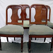 Circa 1830-50.  Set of four, American Classical Side/dining Chairs in mahogany