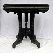 Circa 1885.  Bold, 19th century American Aesthetic Movement parlor table