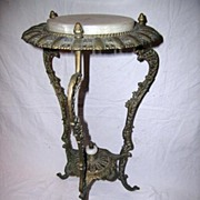 Ornate American Victorian Cast Iron and Alabaster Plant Stand
