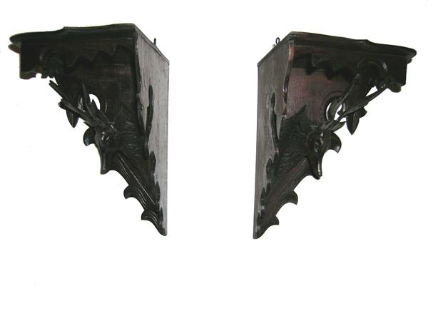 American Victorian Corner Shelves With Stags in Black Walnut