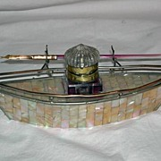 "French, Gondola Shaped ""Grand Tour"" Souvenir Inkwell"