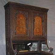 Signed Jacobean Revival Carved and Inlaid Cabinet