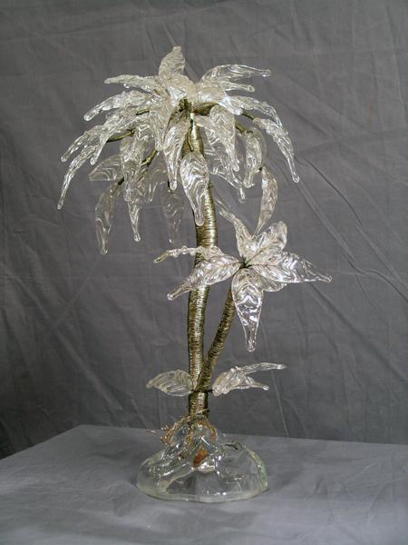 Art Deco Glass Palm Tree Centerpiece