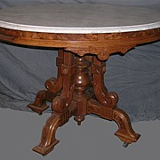 Renaissance Revival Oval Marble Topped Center Table