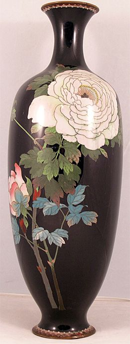 Tall Graceful Japanese Cloisonne Vase