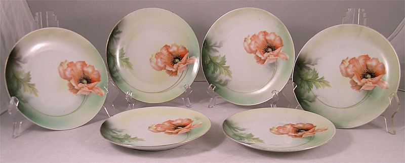 RS Germany Hand Painted Poppy Plates Set of Six