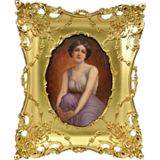 Hand Painted Porcelain PLaque In Superb Gilt Frame