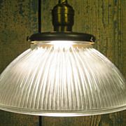 One of Ten Vintage Frosted Holophane Shade Pendant w/ Twisted Cotton Cord Hung with Socket.