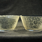 Pair of Etched Victorian Gas Shades Aesthetic Style with Spider Cameos circa 1890