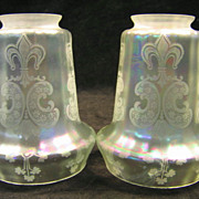 Pair of Iridescent Shades 2 1/4&quot; Fitter Verre de Soie Circa 1920