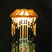 Set of Four Vintage Fringed Glass Bead Lamp Shades C1920