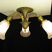 A Three Light Flush Ceiling Fixture Solid Brass c 1940 Rewired