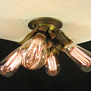 One of Three Vintage 4 Light Flush Bulb Fixture C1920 All Brass w/ Bulbs