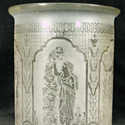 Victorian Cylinder Etched Glass Shade Pull Down Oil