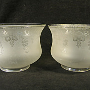 Pair of Victorian Etched Glass Gas Shades 4&quot; Fitter C1880 n336