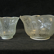 Pair of Victorian Etched Glass Gas and Electric Shades C1880 n5017