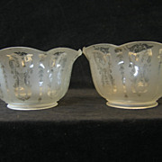 Pair of Victorian Etched Glass Gas Shades 4&quot; Fitter C1880 n5000