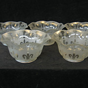 Set of 5 Victorian Etched Glass Gas Shades 4&quot; Fitter C1880 n4984