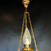 5940 Urn Form Victorian Light w/ Opalescent Glass Shade c1910