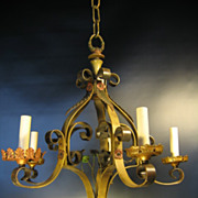 5994 Five Light c1920 Painted Metal Ceiling Light Fixture Rewired Chandelier