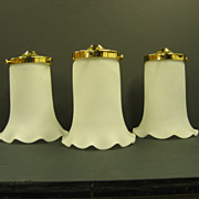 7117 Set Three Art Nouveau White Glass Shades w/ Original Holders C1910