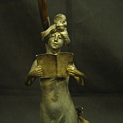 7305 Antique Art Nouveau Table Lamp Girl w/ Book Marble Base Rewired