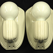 7316 Pair Vintage White Porcelain Bathroom Kitchen Wall Sconces Rewired Restored 8 Pr Availabl