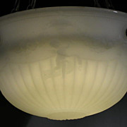 Cast Glass Ceiling Dome Chandelier with Cupids