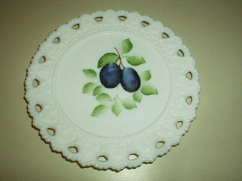 1950's Hand-Painted  Milk Glass Plate with Grapes
