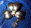 Vintage Gold Tone Shamrock Pin Miraculous Medal