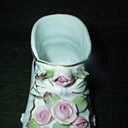 NAPCO  Porcelain Baby Boot/Shoe   with Pink Roses