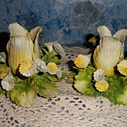 Italian 'MIRA' Hand-Painted  Yellow Flowers Candle Holders