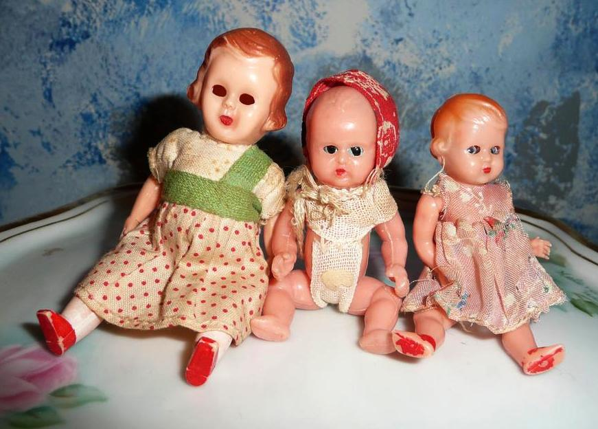 Lot of 3 Vintage  House Hard Plastic Dolls