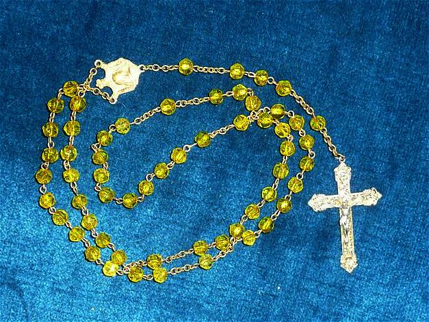 Unusual  19&quot; Yellow Glass Color Beads Roman Catholic Rosary