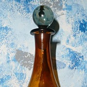 Amber Blown Glass Bottle with Stopper