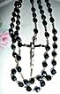 Iridescent Black Bead  Italian Rosary marked as ROMD