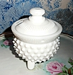 Milk Glass  Mustard Dish with Lid