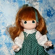 "Vintage ""Precious Moments' Green Polka Dots Doll"