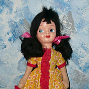 "Pretty 16""  Black Hair  Mask Face Doll"