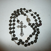 Volcanic Rock and Silver Roman Catholic Rosary from The Holy Land