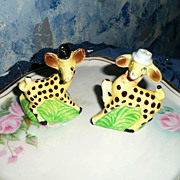 Cute Yellow Giraffes Set of SAlt and Pepper Shakers
