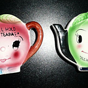 Pair of Two Teapot Shaped  Teabag Rest