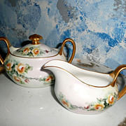 Zeh, Scherzer & Co. German Yellow Roses Creamer and Sugar with Lid Set