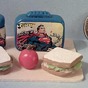 Vintage Miniature  Superman Lunch Box Set *1970's