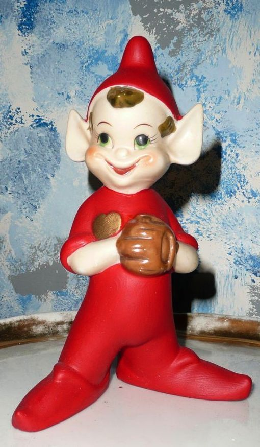 """Large 8"""" Baseball Pitcher Player Pixie Elf from ..."""