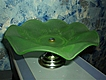Jobling  Green  Glass Cake Dish Fir Cone Pattern