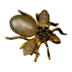 18k Bug Pin/Pendant W/Diamonds/Gems/Pearl