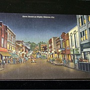Postcard: State Street At Night ~ Sharon, Pa., Unusual!