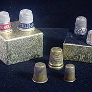 7 Vintage Thimbles, 2 Sterling, 2 Advertising & 3 Brass